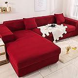 PPOS Funda de sofá de Esquina elástica para Sala de Estar Funda de sofá elástica de Spandex Funda de sofá elástica Toalla de sofá en Forma de L A2 3 Asientos 190-230cm-1pc