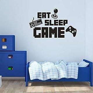 Cute Boys Play Room Vinyl Wall Decal Eat Sleep Game Version Lettering Words Gamer Mural Wall Sticker Bedroom Decoration