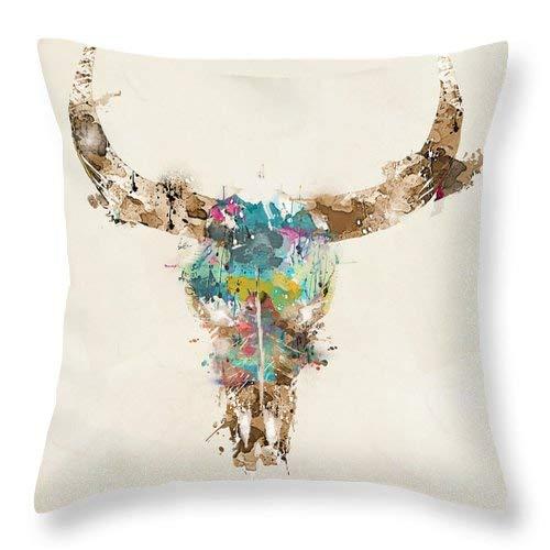 Lplpol Funda de cojín cuadrada de lino y algodón con diseño de calavera de vaca de 40,6 x 40,6 cm