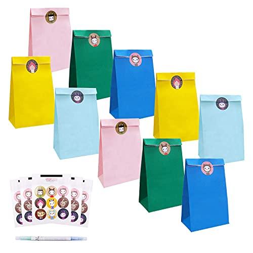 40 Pcs Bolsa de Regalo,Bolsa de Cumpleaños, INPHER Bolsas Papel Kraft Multicolor...