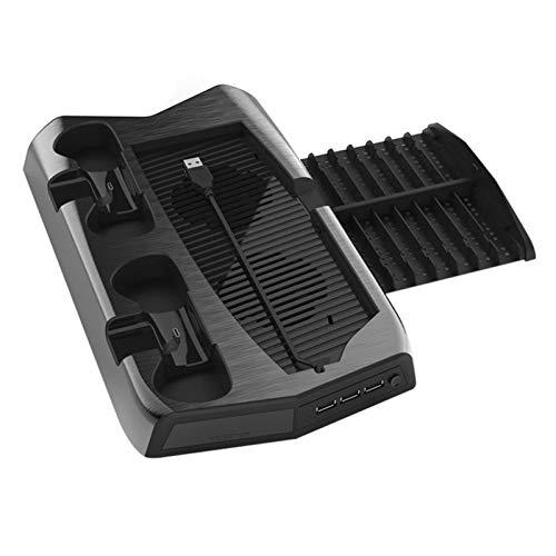 Mengdie Soporte vertical con ventilador de refrigeración compatible con consola PS5 estación de carga con puerto de cargador de controlador dual