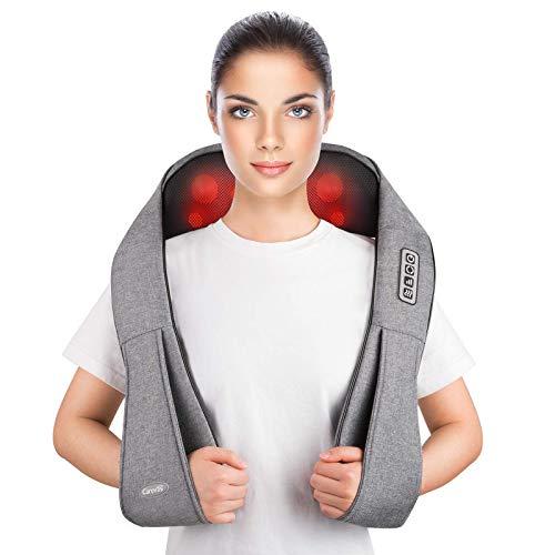 41mbubIBqyL - Masajeador de Cuello, Carevas Masajeador Cervical con 3D Rotación Shiatsu y Función de Calor para Relajar Hombros y Espalda en Casa, Oficina o Coche