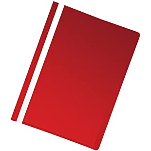 5 Star Office Project Flat File Lightweight Polypropylene with Indexing Strip A4 Red [Pack 5]