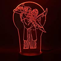 3D Ledランプキッズナイトライト漫画チーム7色変更タッチリモート装飾キッズギフトキッズ誕生日Usb充電器