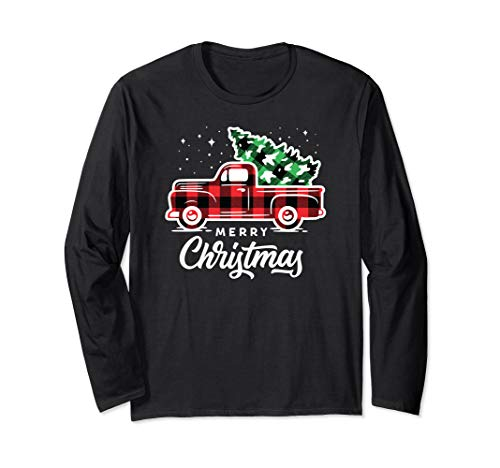 Vintage Style Farm Red Truck with Christmas Tree Long Sleeve T-Shirt