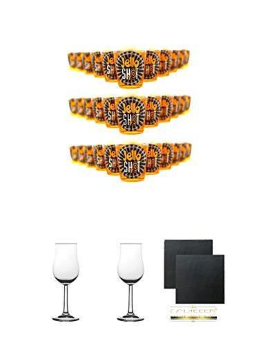 Jello Shot Maracuja Wackelpudding mit Wodka 42 Gramm x 30 Stck + 2 Bugatti Nosing Gläser mit Eichstrich 2cl und 4cl + 2 Schiefer Glasuntersetzer eckig ca. 9,5 cm Ø