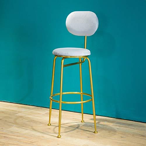 Taburetes de Bar Modernos, sillas de Comedor de Cocina, Taburete de Bar cafetería, Asiento Redondo tapizado de Terciopelo, Patas de Metal Dorado, Altura del Asiento 75 cm - Gris Claro