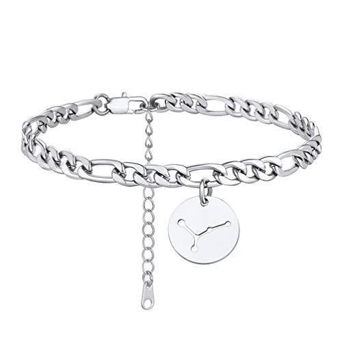 PROSTEEL Bracelet de Cheville Femme Acier INOX Signe Cancer Chaîne Pied Maille Figaro avec Pendentif Rond Anklet Bijou Accessoire Parfait