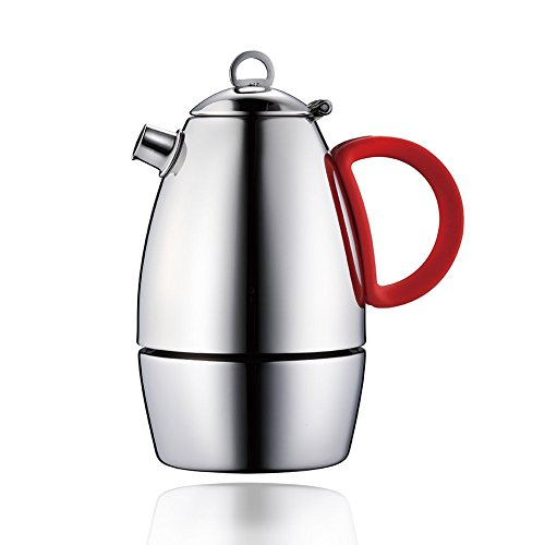 Minos Moka Pot Espresso Maker - 3 cup - 5 fl oz - Stainless Steel and Silicon Handle- Suitable for Gas, Electric And Ceramic Stovetops