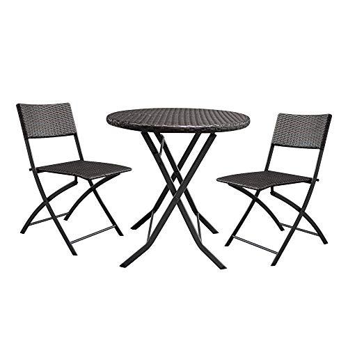 HAOHAODONG 2pcs Arm Chairs 1pc Round Couchtisch Rattan Chair Set Braun, Möbel Bistro Set-Patio Möbel Set