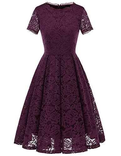 DRESSTELLS Damen Midi Elegant Hochzeit Spitzenkleid Kurzarm Rockabilly Kleid Cocktail Abendkleider Grape XL