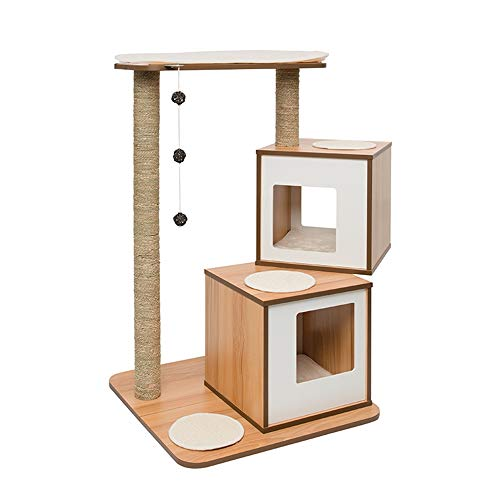 NBRTT Cat Climbing Frame, Integrated Cat Jumping Platform Scratching Post, Multi-Layer Cat Litter Tree, 2-Room Cat House with Sisal Mat and Rattan Ball Toy