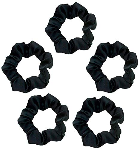 Kitsch Pro Satin Scrunchies, Hair Scrunchies for Frizz Prevention, Satin Hair Ties for Breakage Prevention and Gentle Style Preservation, 5 Pack, Black