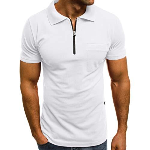 Casual Camisetas MISSWongg Personalidad de la Moda de los Hombres Slim Manga Corta Bolsillos Camiseta Cremallera Top Blusa Dobladillo Recto Casual Polos Shirt Camisetas de Deporte