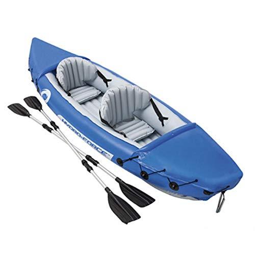 Cosstob Kajak Fahren, Aufblasbares PVC-kajak, 2-Personen-schlauchboot-Set, Faltbares Aufblasbares Kanu, 160Kg Tragend, (mit Rudern)