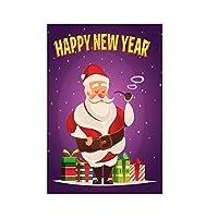 #N/A 装飾サンタフラグ屋外季節バナー国旗庭の芝生クリスマス装飾 - 喫煙サンタ