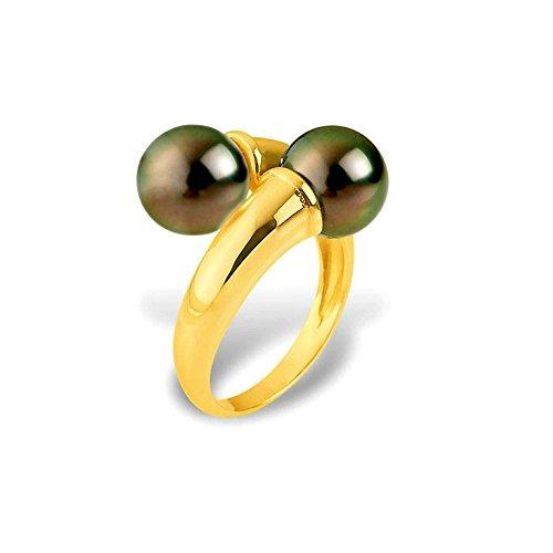 Ring 2 Tahiti-Perlen und Gelbgold 375/1000 - Blue Pearls - 56 BPS K413 W