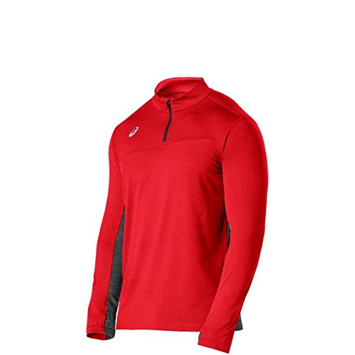 ASICS Team Classic 1/2 Zip, Red/Heather Grey, Small