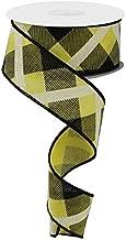 Plaid Canvas Wired Edge Ribbon, 10 Yards (Yellow, Black, White, 1.5