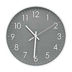 Epy Huts Modern Simple Wall Clock Indoor Non-Ticking Sweep Decorative Wall Clocks Battery Operated with Clear Numbers Easy to Read Wall Clock for Office,Bathroom,Livingroom Decorative 10 Inch Gray