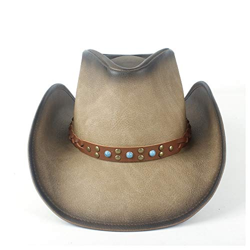 MMD-women's hat La Mode Rétro Unisexe Chapeau de Cowboy Occidental Chapeau à Large Bord avec Chapeau de Cow-Girl Sombrero en Cuir Bande Punk Doux (Couleur : Tan, Taille : 58-59)