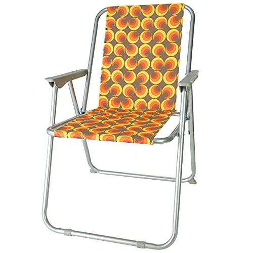 diMio Sedia pieghevole dal design retrò, in 8 design alla moda, per campeggio, giardino, anni '70, con struttura in alluminio (gufi)