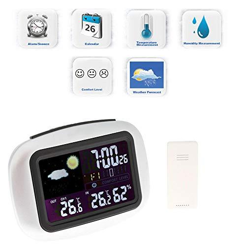 ZKDY Estación Meteorológica Sensores Inalámbricos para Interiores/Exteriores Termómetro Digital Higrómetro LCD Temperatura Y Humedad -20-50C / 20% -95%