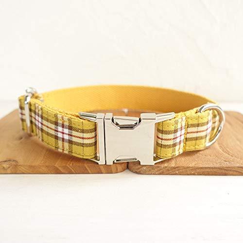 Gulunmun Klassische Halsbänder Schlichtes Design Hund Ring Metalllegierung Schnalle Zugkragen Bissfest Komfort Kragen Versenkbare Gelb S (Breite: 2,0 cm Länge: 31-41 cm)