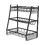 Organizador de especias para encimera, organizador de especias de 3 niveles para gabinete de cocina, organizador de 3 niveles de doble uso (usos múltiples), almacenamiento de pie con barandilla y dise