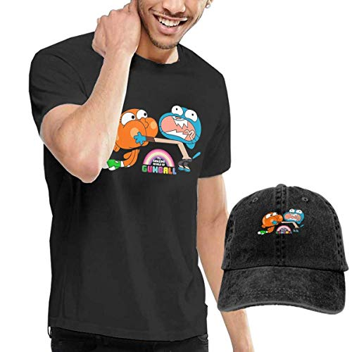 shenguang Dingtai The Amazing World of Gumball Brother Herren Short-Sleeve T-Shirts T Shirt and Adult Washed Cowboy Hat