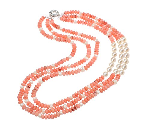 TreasureBay Three Rows Natural Pink Coral and FreshWater Pearl Necklace, Womens Multi Strands Necklace