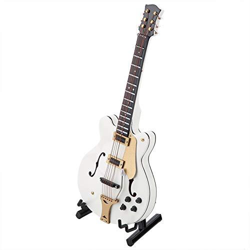 Pssopp Modelo de Guitarra en Miniatura Pantalla de Instrumentos Musicales de Madera Blanca de 5,5 Pulgadas con Soporte y Estuche pequeños Adornos artesanales decoración del hogar
