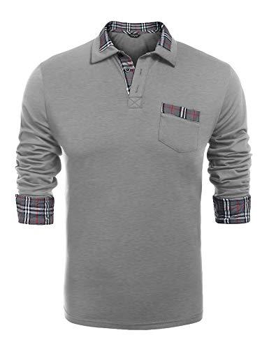 COOFANDY Fashion Poloshirt Herren Langarm Einfarbig Polo Kragen Freizeit für Männer