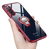 Sony Xperia 10 II ケース リング 透明 クリア リング付き tpu シリコン スリム 薄型 Sony Xperia 10 II SO-41A SOV43 スマホケース 耐衝撃 ストラップホール付属 メッキ加工 一体型 人気 携帯カバー レッド