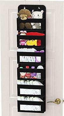 Simple Houseware Over Door/Wall Mount 6 Clear Window Pocket Organizer, Black