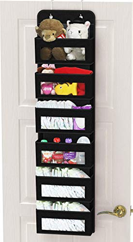 Simple Houseware Over Door/Wall Mount 6 Clear Window Pocket Organizer, Black