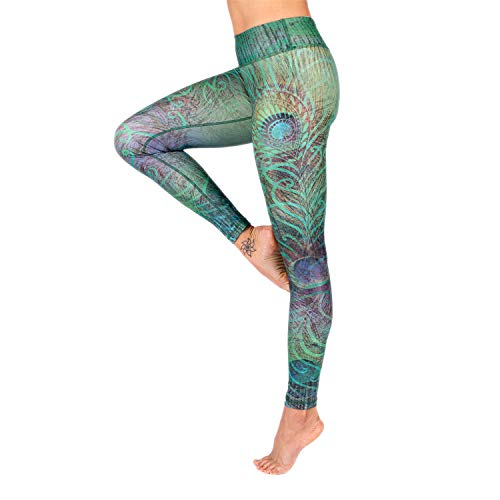 Niyama Leggings Feathered Beauty, Design Print Leggings, Placement Print mit Pfauen-Muster (S, Regular)