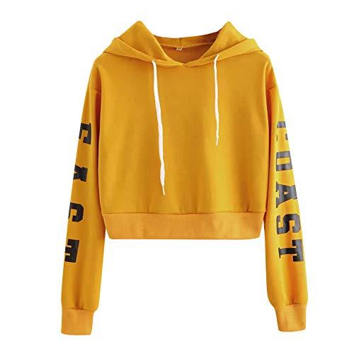 Sweatshirt Femme Imprimé, LMMVP Femmes Sweat à Capuche Des Lettres Pullover Sweat-shirt Chemisier Polyester (XS, jaune 2018)