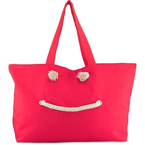 MC Trend XXL EXTRA Große Strandtasche Shopper Tasche Strand Beach Bag Größe ca. 66x38x18 cm (Rot)