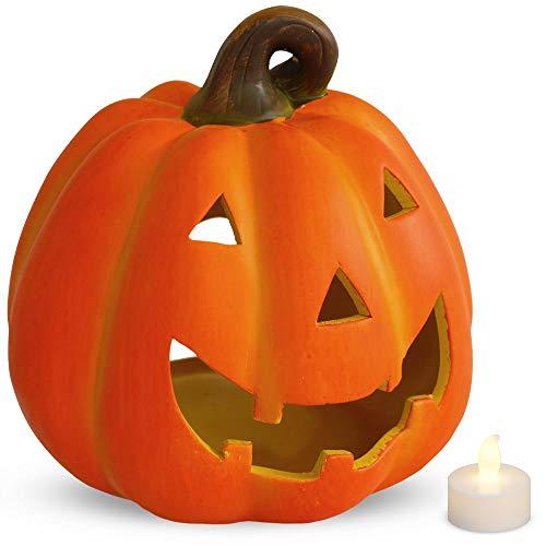 matches21 Tolles Kürbis Windlicht Halloween Laterne 19x20 cm aus Ton mit flacker LED-Teelicht