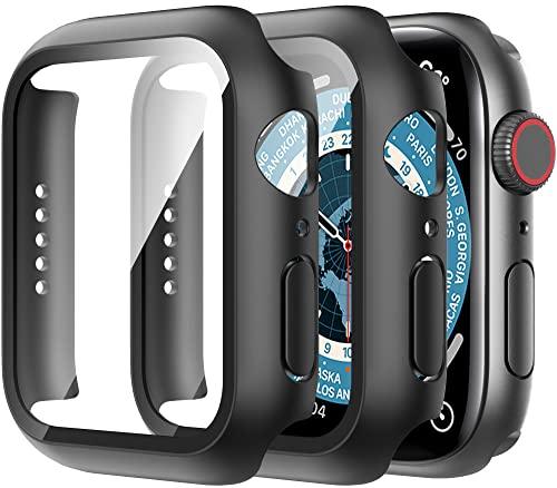Diruite 2-Stück Hülle für Apple Watch Series 6/5/4/SE Panzerglas Schutzhülle,Hard PC R&um Bildschirmschutz Superdünne Schutz Hülle für iWatch SerieS 6 44mm/SerieS 5 44mm/SerieS 4 44mm