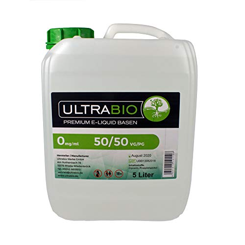 Ultrabio® Deutsche Basen 5000ml 5L 50/50 (50% PG / 50% VG) e liquid Base ohne Nikotin