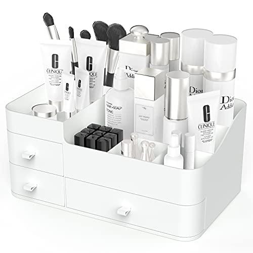 Makeup Organizer, Cosmetic Storage Box with Drawer, Elegant Vanity Holder for Lipstick, Brushes,Skincare, Lotions, Perfumes, Eyeshadow, Nail Polish (White)
