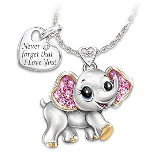 Osye Never Forget That I Love You Elephant Necklace Elephant Pendant Necklace Pink Ladies Lettering Necklace Jewelry