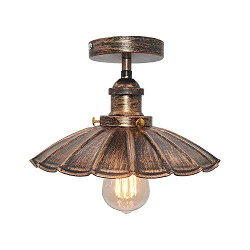 Huahan Haituo Decke Licht Modern Vintage Industrial Metal Schwarz Bronze Loft Bar Decke Licht Schatten Retro Anhänger Light(StyleB,Sweeping gold)