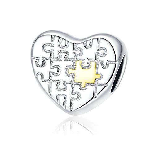 LIJIAN DIY 925 Sterling Jewelry Charm Beads Heart Love Puzzles Metal Make Original Pandora Collares Pulseras Y Tobilleras Regalos para Mujeres