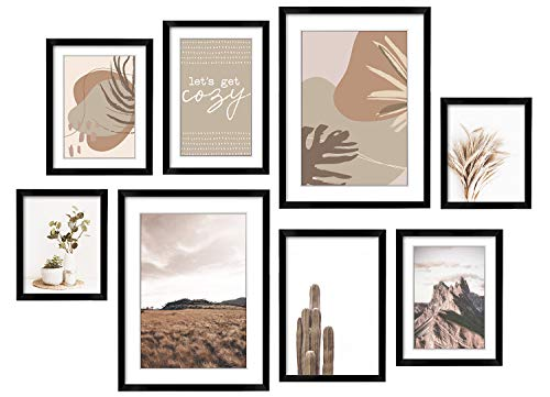 ArtbyHannah 8 Pack Modern Neutral Gallery Wall Kit Decorative Art Prints Black Picture Frame Collage Sets Wall Art Decor for Home Decoration,Multi Size 12 x 16,8 x 12,8 x 10,6 x 8 Inch