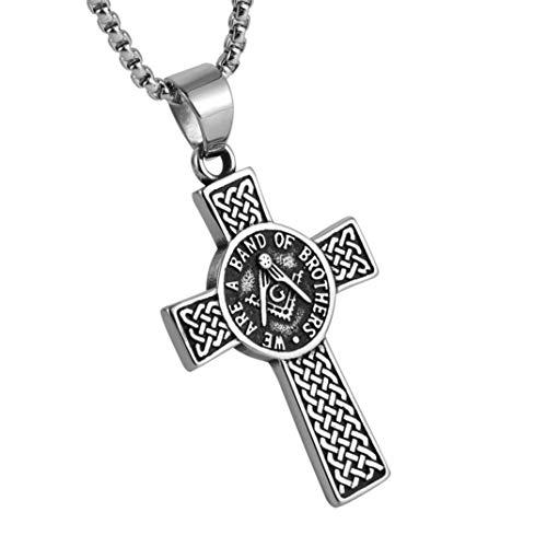 AsAlways Stainless Steel Freemason Symbol Masonic Eternal Celtic Cross Irish Knot Pendant Necklace, 22+2'Link Chain,
