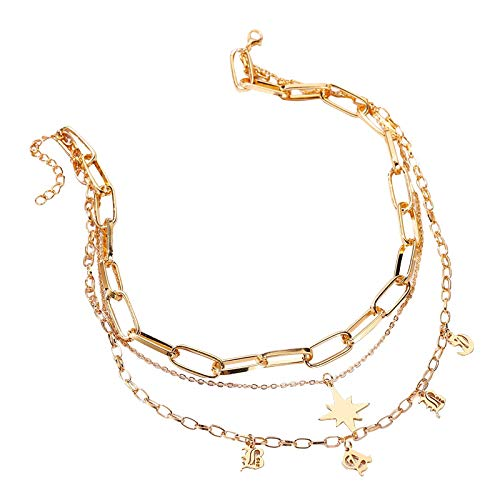Yukong Choker Long Chain Necklaces For Women Multilayer Initial Star Necklace Letter Personalised Present For Girls