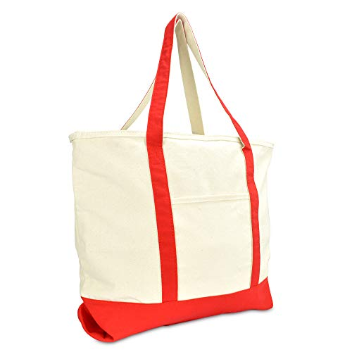 DALIX 22' Large Cotton Canvas Zippered Shopping Tote Grocery Bag in Red